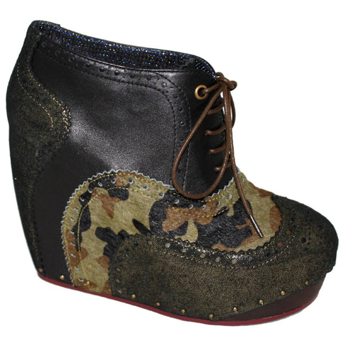 Irregular Choice, What an Angel, Camouflage, Lace up wedge bootie