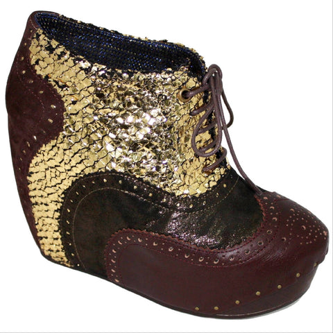 Irregular Choice, What an Angel, Brown Gold, Lace up wedge bootie