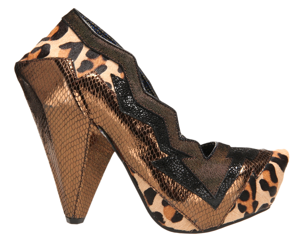 Irregular Choice, Amazonianic, Bronze Leopard, Spiked triangle heel