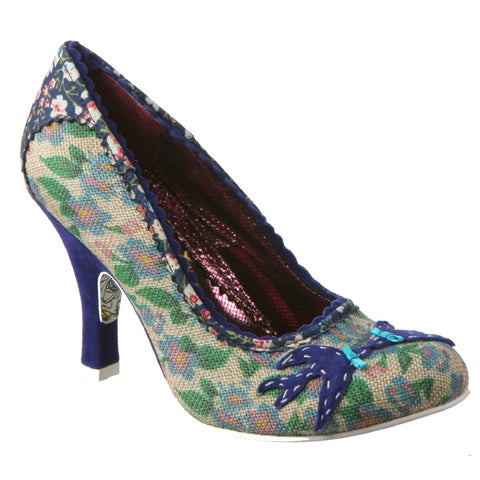 Irregular Choice, Swallow, Blue, Fabric pump