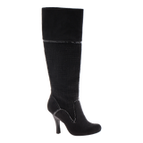 GOLDEN COMPASS in BLACK Knee High Boots