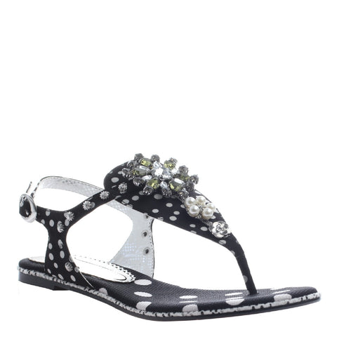 Poetic Licence, Mercado Shopping, Black, Thong jeweled sandal