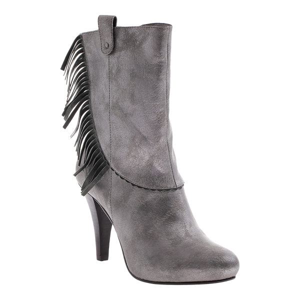 Poetic Licence, Pure and Easy, Pewter, High heel boot with fringe
