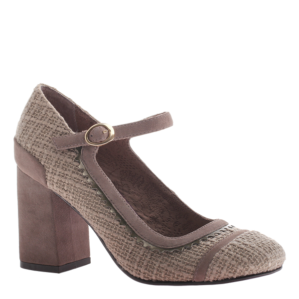Poetic Licence, Take it Easy, Stone, Square heel with front strap mary jan style.