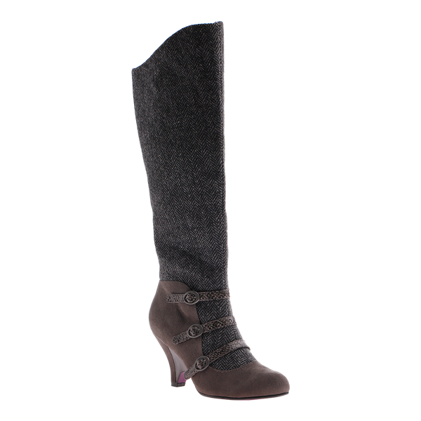 Poetic Licence, Top Notch, Dark Grey, Knee high fabric boot with buckles on the front of shoe