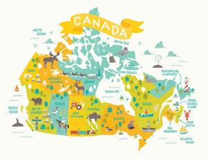 Map of Canada Art Print - Blue