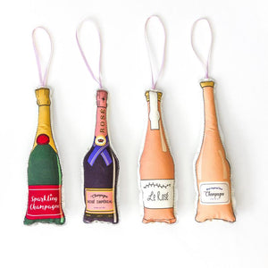 Champagne Bottles Ornament Set