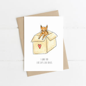 I Love You Like Cats Love Boxes Card