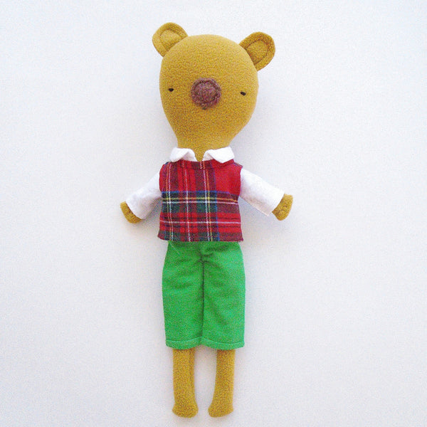 (ONLY A FEW LEFT!)*LIMITED HOLIDAY EDITION* Long-legged Bear in Green Shorts, White Top and Plaid Vest