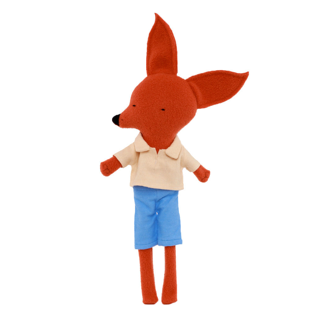 Long-legged Red Fox in Blue Shorts