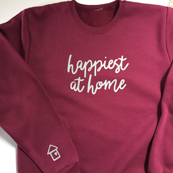 Happiest at Home - Unisex Adult Sweatshirt - WINE/MAROON