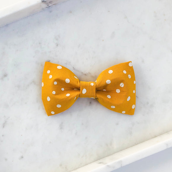 Mustard Dot Dog Bow Tie