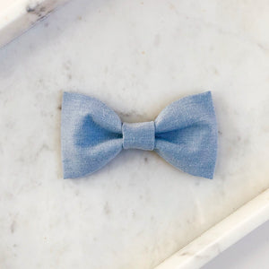 Light Chambray Dog Bow Tie
