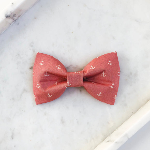 Pink Anchors Dog Bow Tie