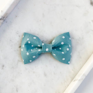 Teal Dot Dog Bow Tie