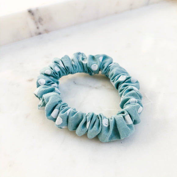Teal Dot Scrunchie Hair Tie