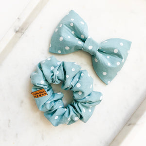 Teal Dot Bow Tie Bestie Set
