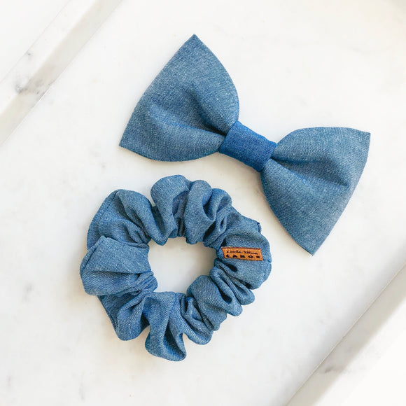 Dark Chambray Bow Tie Bestie Set