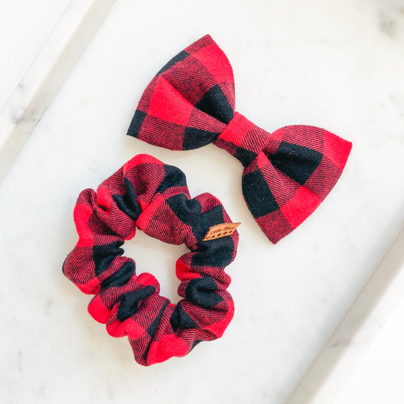 Buffalo Plaid Bow Tie Bestie Set