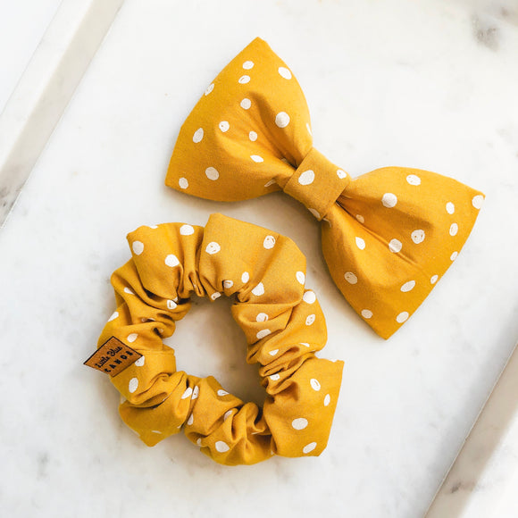 Mustard Dot Bow Tie Bestie Set