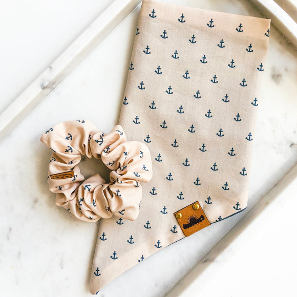 Blue Anchors Bandana Bestie Set