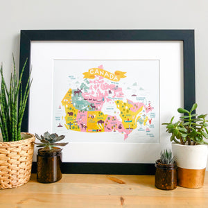 Map of Canada Art Print - Pink