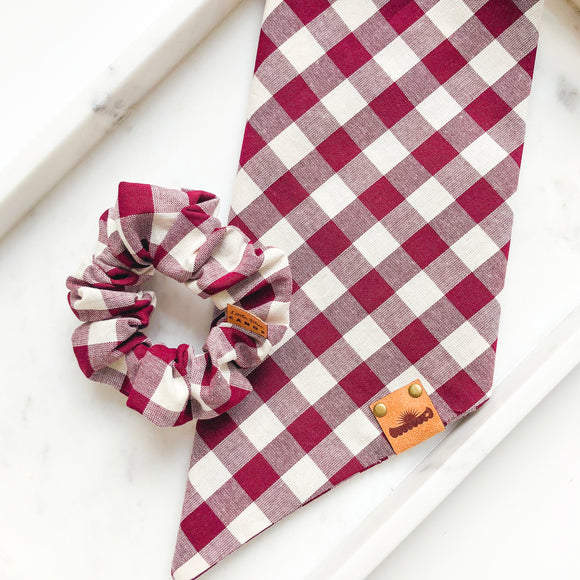 Burgundy Plaid Bandana Bestie Set