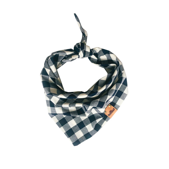Navy Plaid Bandana