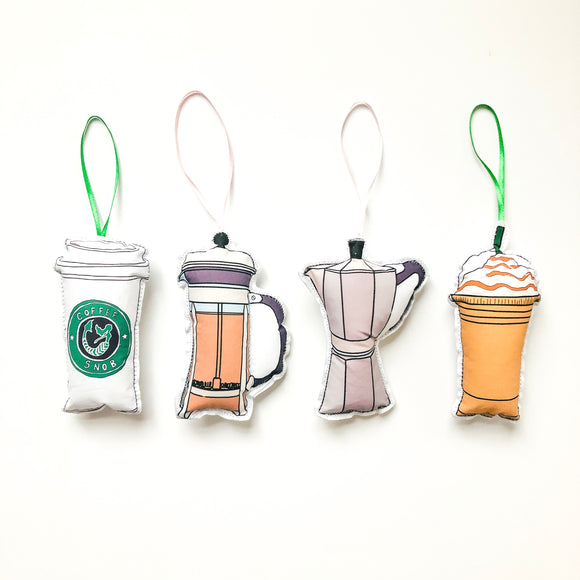 Coffee Lovers Christmas Ornament Set