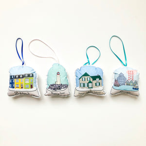 East Coast Snow Globe Ornament Set