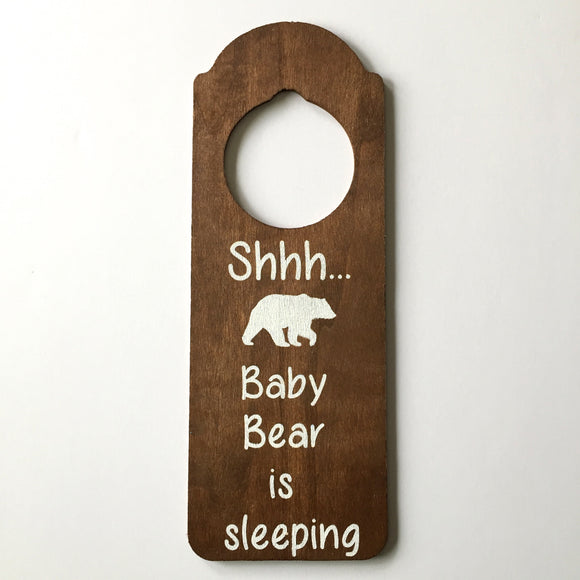 Shhh Baby Bear is Sleeping - Wooden Door Hanger