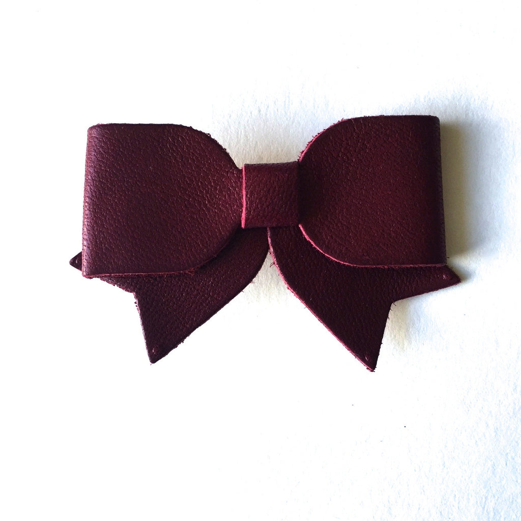 Leather Hair Bow - Alligator Clip - Wine or Cognac