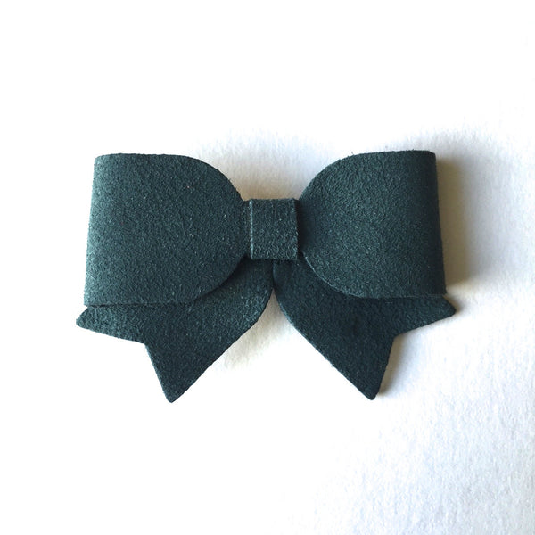 Suede Hair Bow - Alligator Clip - Hunter Green
