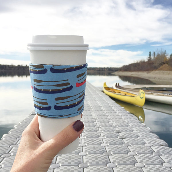 Eco Friendly Reusable Coffee Sleeve - Blue and Red Canoes