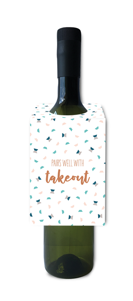 Pairs Well With Takeout Wine Bottle Neck Tag