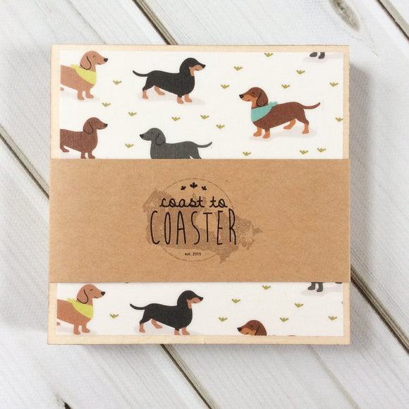 Weiner Dog + Grey Dot Coasters