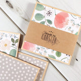 White Floral + Grey Dots Coasters