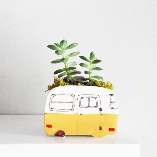 Large Yellow Camper Planter
