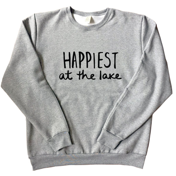 Happiest at the Lake - Unisex Adult Sweatshirt - GREY (w/black)