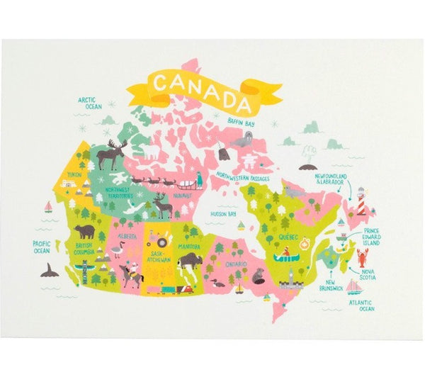 Map of Canada Art Print - Two Sizes +Two Colour Options