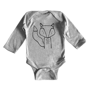 Finn the Fox Grey Long Sleeved Baby Onesie