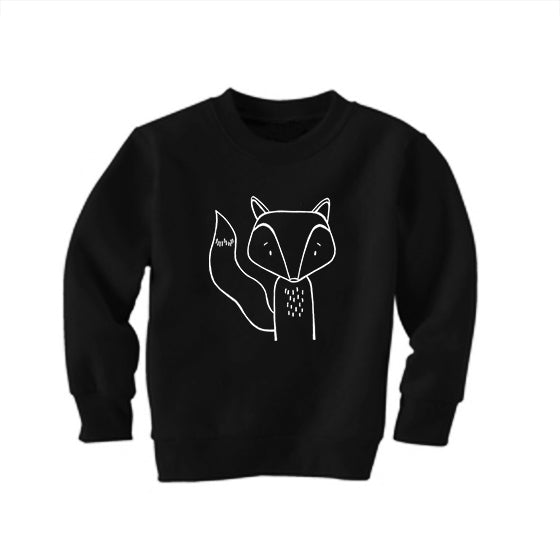 Finn the Fox Black Kid's Sweatshirt