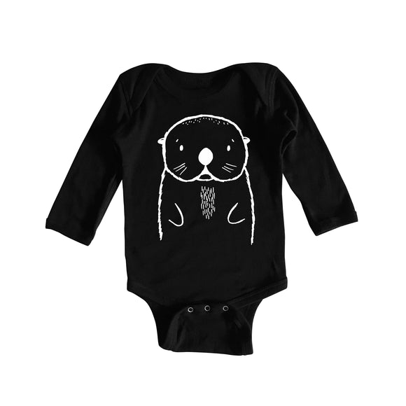 Oslo the Otter Black Long Sleeved Baby Onesie