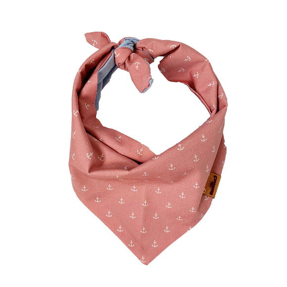 Pink Anchor / Chambray Bandana