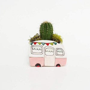 Large Pink Caravan with Flags Planter