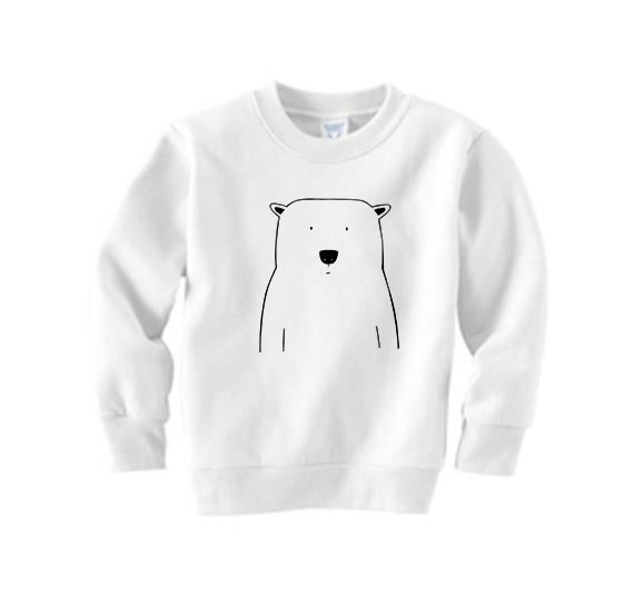 Percy the Polar Bear White Kid's Sweatshirt