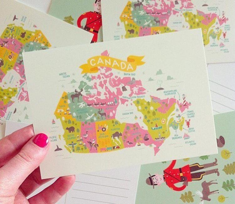 Map of Canada + Mountie Postcards