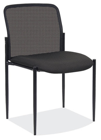 BLK MESH ARMLESS STACK CHAIR