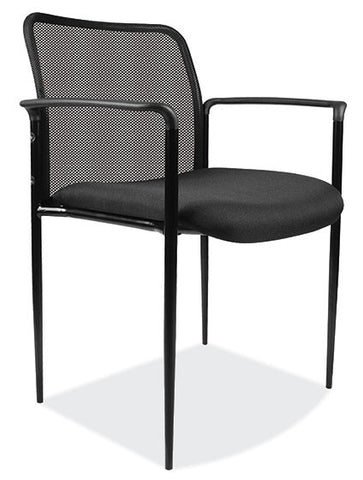 BLK MESH STACK CHAIR W/ARMS