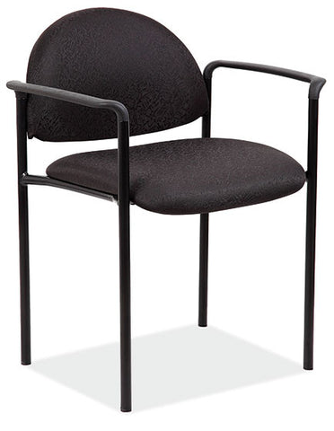 EBONY STACKING SIDE CHAIR W/ARMS